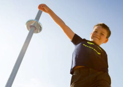 British Airways i360 with boy 'touching' the top