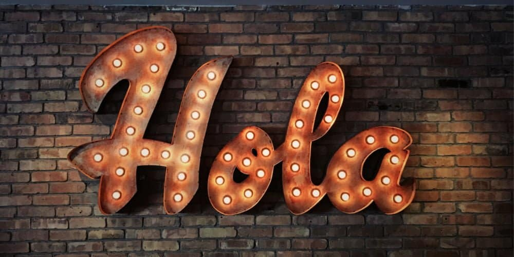 Hola glowing sign