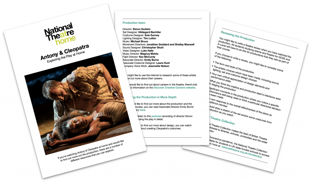 Antony & Cleopatra Teaching Resources from the National Theatre's National Theatre At Home production