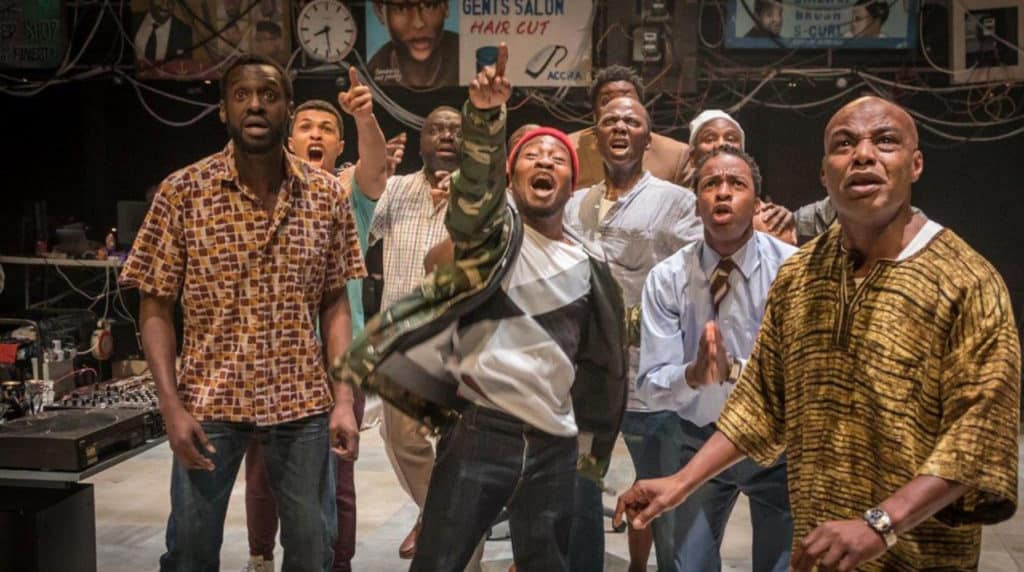 Production shot from the National Theatre's Barber Shop Chronicles