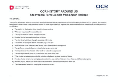 Dover Castle OCR Spec B – History Around Us Resource