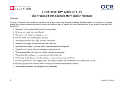 Goodrich Castle OCR Spec B – History Around Us Resource