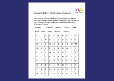 Victoria Art Gallery's Find the Artist Wordsearch