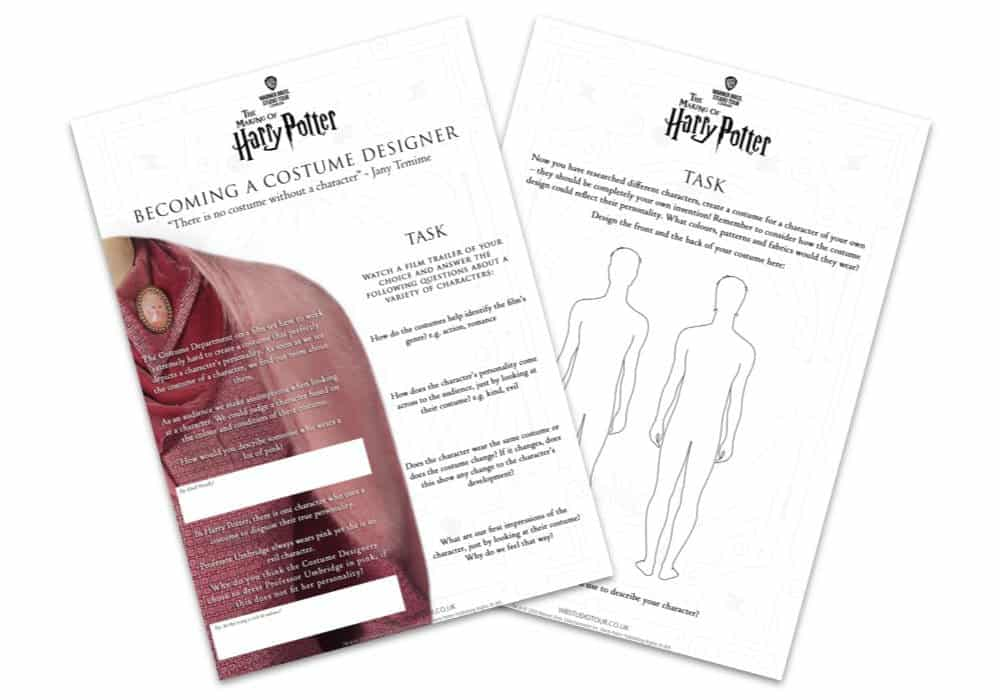 Warner Bros. Studio Tour London – The Making of Harry Potter Home Learning Teaching Resources Costume Design Education Pack Image