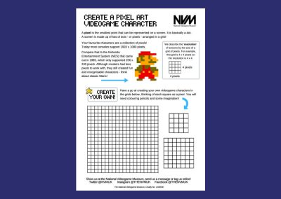 National Videogame Museums Create Your Own Pixel Art Character Design Worksheet Resource Image